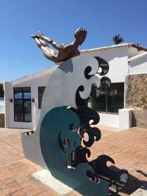 Cliff diver sculpture