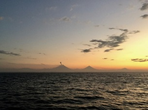 Volcanoes at sunrise